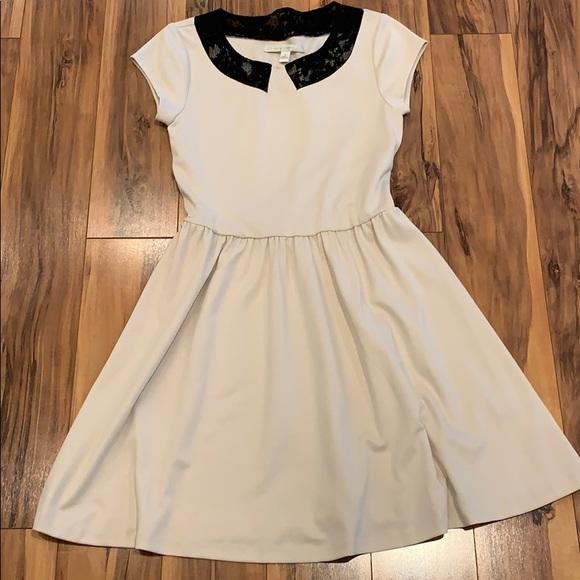 LC Lauren Conrad Black Lace Collar Cream Dress